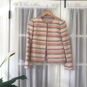 Tahari Cotton Jacquard Pattern Blazer
